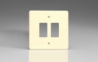 Varilight 2 Gang Power Grid Faceplate Including Power Grid Frame Dimension White Chocolate