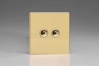 Varilight V-Plus IR Series 2 Gang 40-400 Watt Touch and Remote Dimmer Screwless Polished Brass