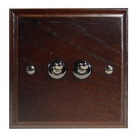 Wood 2 Gang 2Way 10Amp Toggle Switch in Solid Dark Oak