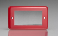 Varilight 4 Gang Data Grid Face Plate For 3 or 4 Data Module Widths Classic Lily Pillar Box Red