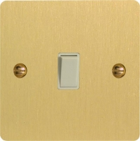 Varilight 1 Gang 10 Amp Push-to-make, Bell Push, Retractive White Switch Ultra Flat Brushed Brass