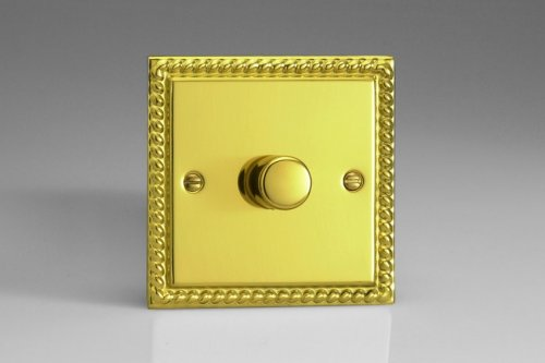 Varilight V-Pro Series 1 Gang 0-120W Trailing Edge LED Dimmer Georgian Polished Brass Coated