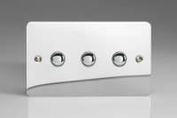 Varilight V-Pro IR Series 3 Gang Slave Unit for use with V-Pro IR Master Dimmers Ultra Flat Polished Chrome
