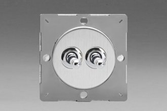 Z1EGT2S-P Varilight European VariGrid 2 gang 1 or 2 Way 10A Toggle Polished Chrome Switch, for use with VariGrid Single, Double and Triple Faceplates