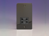 Varilight Black Dual Voltage 240V/115V IP41 Shaver Socket Ultra Flat Iridium Black