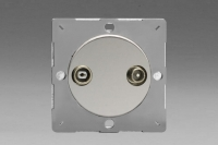 Varilight European Polished Chrome VariGrid 2 Gang Radio and TV Termination Socket