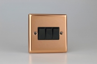 Varilight 3 Gang 10 Amp Switch Classic Polished Copper