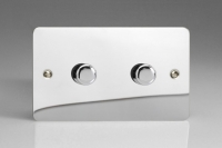 Varilight V-Pro Series 2 Gang 0-120W Trailing Edge LED Dimmer Ultra Flat Polished Chrome