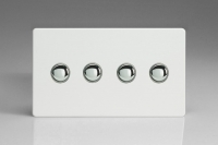 IDQS004S Varilight 4 Gang Multi-way Touch Slave Unit, Dimension Screwless Premium White