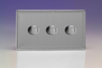 Varilight V-Pro Series 3 Gang 0-120W Trailing Edge LED Dimmer Screwless Beaded Brushed Steel
