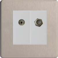 Varilight 2 Gang Comprising of White Co-axial TV and Satellite TV Socket Screwless Brushed Steel