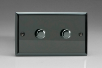 Varilight V-Pro Series 2 Gang 0-120W Trailing Edge LED Dimmer Iridium Black