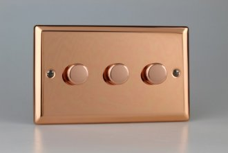 Varilight V-Dim Series 3 Gang 40-250 Watt Dimmer Urban Polished Copper Coated