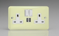 Varilight 2 Gang 13 Amp Single Pole Switched Socket with 2 x 5V DC 2.1 Amp USB Charging Ports Classic Lily White Chocolate