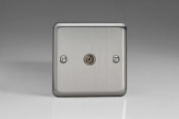 Varilight 1 Gang Co-axial TV Socket Classic Brushed Steel