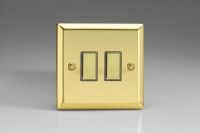Varilight V-Pro Multi Point Tactile Touch Slave (MP Slave) Series 2 Gang Unit for use with V-Pro Multi Point Remote Master Dimmers Victorian Brass
