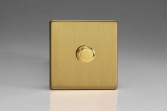 Varilight V-Dim Series 1 Gang 60-400 Watt Dimmer Screwless Brushed Brass Effect Finish