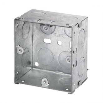 WBOXS47 Metal 47mm Deep Single Wall Box (Knock-out)