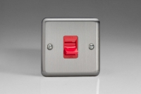 Varilight 45 Amp Double Pole Cooker Switch Classic Brushed Steel