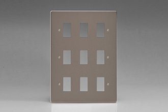 Varilight 9 Gang Power Grid Faceplate Including Power Grid Frames Dimension Pewter Effect Finish