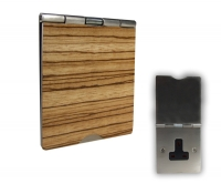 Single Gang 13A Unswitched Floor Socket Zebrano Wood Black Trim