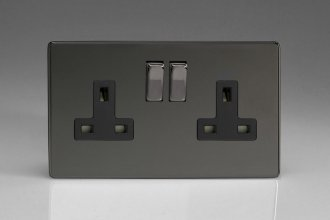 Varilight 2 Gang 13 Amp Double Pole Switched Socket Screwless Iridium Black Effect Finish