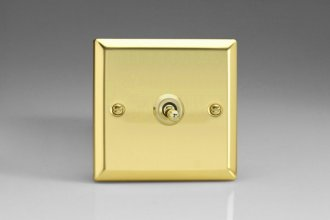 Varilight 1 Gang 10 Amp Toggle Switch Classic Victorian Polished Brass Coated