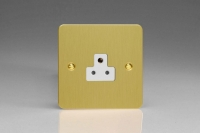 Varilight 1 Gang 2 Amp White Round Pin Socket 0-460 Watts Ultra Flat Brushed Brass