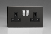 Varilight 2 Gang 13 Amp Double Pole Switched Socket Screwless Premium Black