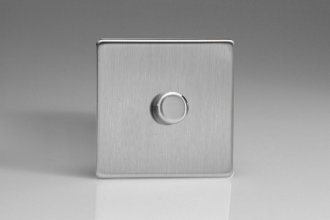 Varilight non-dimming 'Dummy' Series switch 1 Gang 0-1000 Watt Screwless Brushed Stainless Steel