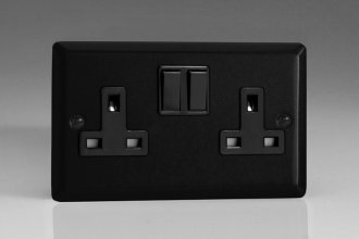 Varilight 2 Gang 13 Amp Double Pole Switched Socket Urban Matt Black Effect Finish