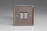 Varilight 2 Gang Comprising of 1 Intermediate (3 Way) and 1 Standard (1 or 2 Way) 10 Amp Switch Classic Pewter