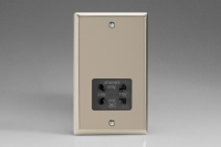 Varilight Black Dual Voltage 240V/115V IP41 Shaver Socket Classic Satin Chrome