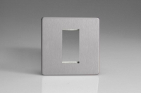 Varilight 1 Gang Data Grid Face Plate For 1 Data Module Width Screwless Brushed Steel