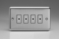 Varilight V-Pro Multi Point Remote (MPR or Eclique2) Series 4 Gang 0-100 Watts Multi Point Remote Master LED Dimmer Brushed Steel/Matt Chrome