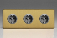 XEB5.5.5S Varilight European 3 Gang (Triple), Schuko Protruding Design Socket, Dimension Screwless Brushed Brass (Triple Plate)