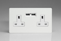Varilight 2 Gang 13 Amp Single Pole Unswitched Socket with 2 Optimised USB Charging Ports Screwless Premium White
