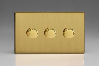 Varilight V-Pro Series 3 Gang 0-120W Trailing Edge LED Dimmer Screwless Brushed Brass Effect Finish