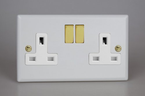 Varilight 2 Gang 13 Amp Double Pole Switched Socket Vogue Matt White Effect Finish