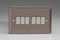 Varilight 6 Gang 10 Amp Switch Classic Pewter