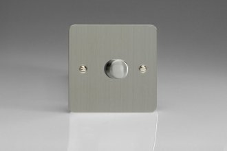 HFS1 Varilight V-Dim Series 1 Gang, 1 Way 400 Watt Dimmer, Ultra Flat Brushed Steel