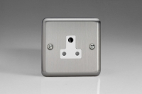 Varilight 1 Gang 5 Amp White Round Pin Socket 0-1150 Watts Classic Brushed Steel