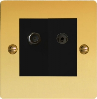 Varilight 2 Gang Comprising of Black Co-axial TV and Satellite TV Socket Ultra Flat Polished Brass