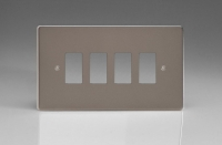 Varilight 4 Gang Power Grid Faceplate Including Power Grid Frame Dimension Pewter