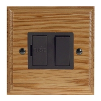 Wood 1 Gang 13Amp Switch Fuse Spur in Solid Oak