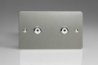 Varilight V-Plus IR Series 2 Gang 40-600 Watt Touch and Remote Dimmer Ultra Flat Brushed Steel