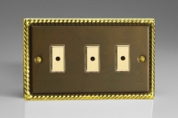 Varilight V-Pro Multi Point Remote (MPR or Eclique2) Series 3 Gang 0-100 Watts Multi Point Remote Master LED Dimmer Antique Finish