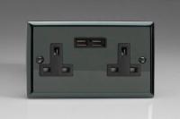 CLEARANCE XI5U2B Varilight 2 Gang, 13 Amp Unswitched Socket with 2 USB Charging Ports, Black Insert. Classic iridium Black
