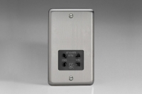 Varilight Black Dual Voltage 240V/115V IP41 Shaver Socket Classic Brushed Steel