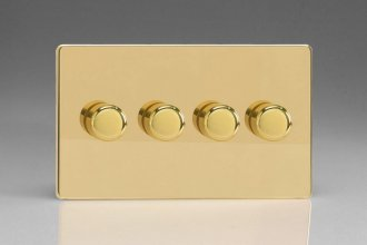 Varilight V-Pro Series 4 Gang 0-120W Trailing Edge LED Dimmer Screwless Polished Brass Coated